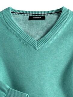 V-Pullover Soft Cotton Mint Detail 3