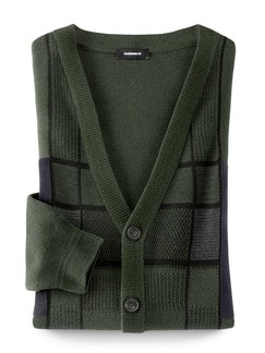 Cardigan Alcantara-Patch Khaki Detail 1