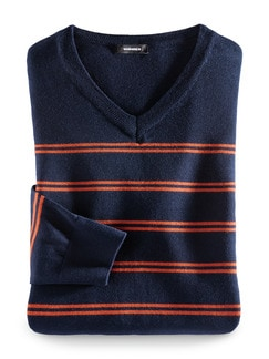 Streifen V-Pullover Merino-Mix Marine/Orange Detail 1