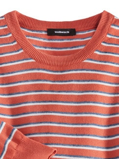 Leicht-Pullover Sommerringel Orange Detail 3