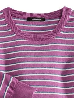 Leicht-Pullover Sommerringel Fuchsia Detail 3