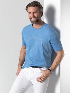 Rundhals Shirt Walbusch Edition Jeansblau Detail 2