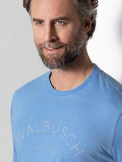 Rundhals Shirt Walbusch Edition Jeansblau Detail 4