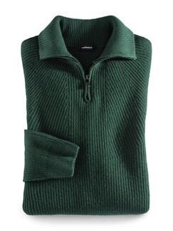 Ripp-Pullover Nahtlos Dunkelgrün Detail 1