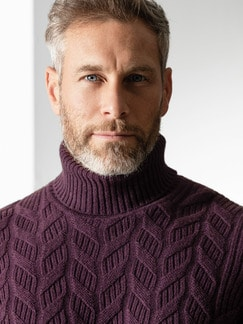 Zopf-Pullover Himalaya-Wolle Bordeaux Detail 4