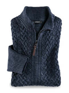 Zopf-Strickjacke Natural Cotton Jeansblau Detail 1