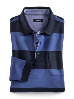 Streifen Polo Supersoft Marine/Royal Detail 1