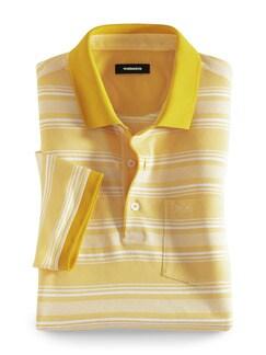 Extraglatt-Polo Bicolor Streifen Gelb gestreift Detail 1