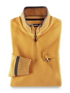 Zip-Shirt Softbund Safran Detail 1