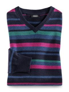 Streifen-Pullover Cashmere Touch Beere/Smaragd Detail 1