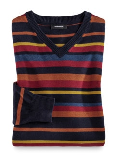 Streifen-Pullover Soft Cotton Terra/Rot Detail 1