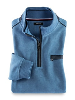 Wohlfühl-Pullover French-Rib Mittelblau Detail 1