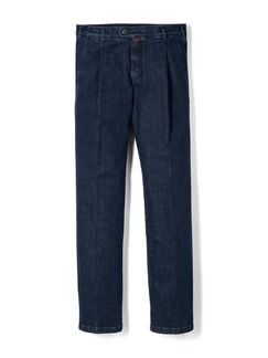 Extraglatt Flex-Bundfaltenjeans Dark Blue Detail 1