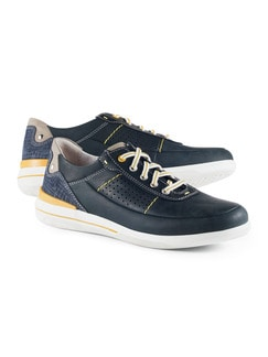 City-Sneaker Blau/Safran Detail 1