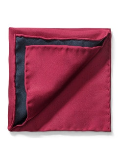 Seideneinstecktuch Uni 2-Farben Rot/Blau Detail 1