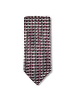 Seidenkrawatte Farbquadrat Grau/Rot Detail 1