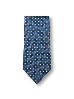 Seidenkrawatte Ornament Blau Detail 1
