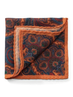 Paisley-Woll-Einstecktuch Orange Detail 1