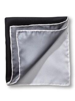 Seideneinstecktuch 4-Farben Weiß/Grau/Schwa Detail 1