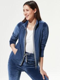 Nicki Homewear Jacke Mittelblau Detail 1