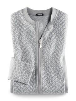 Jacquard Homewearjacke Grau/Weiß Detail 3