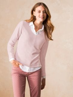 Cashmere Leicht-Pullover Soft Orchidee Detail 1