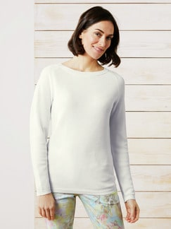 Leicht-Pullover Honeycomb Offwhite Detail 1