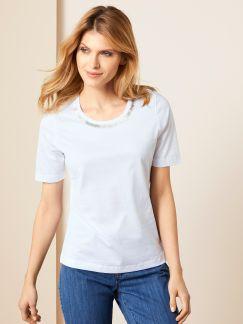 Collier-Shirt Weiß Detail 1