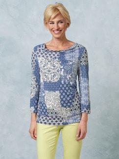 Shirt Santorini Kachelprint Blau gemustert Detail 1