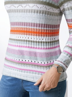 Baumwollpullover Ajour Pink/Khaki/Orange Detail 4