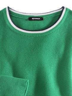 Baumwollpullover Galonstreifen Grasgrün Detail 3