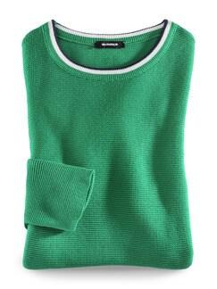 Baumwollpullover Galonstreifen Grasgrün Detail 2