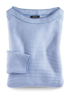 Pima Cotton Pullover Links/Links Skyblue/Weiß Detail 2