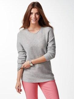 Cashmere Leicht-Pullover Grau Melange Detail 1