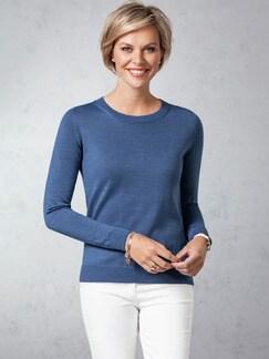 Merino-Mix Rundhals Pullover Jeansblau Detail 1
