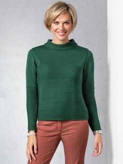 Kaminkragen Pullover Querrippe Tannengrün Detail 1