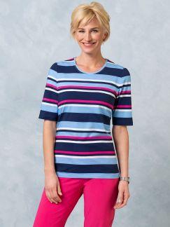 Klepper Cotton Modal Shirt Hellblau/Marine/Pink gestreift Detail 1