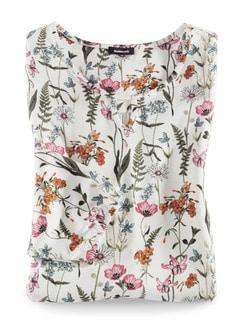 Blouson-Shirt Blumenwiese Weiß/Orange/Pink Detail 3