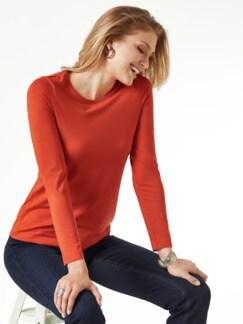 Viskose Shirt Langarm Rostorange Detail 1
