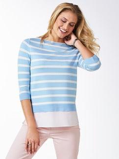 Streifen Sweatshirt 2in1 Skyblue/Weiß Detail 1