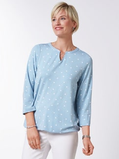 Viskose-Shirt Polka Dot Skyblue Detail 1