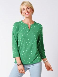 Viskose-Shirt Polka Dot Grasgrün Detail 1