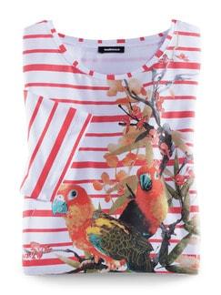 Streifenshirt Papagei Koralle Detail 2