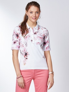 Poloshirt Hibiskusblüte Koralle Detail 1