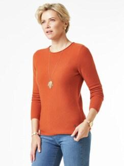 Cashmere Leicht-Pullover Rostorange Detail 1