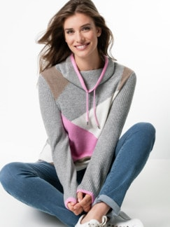 Pullover Intarsia Soft and Easy Pink/Beige Detail 1