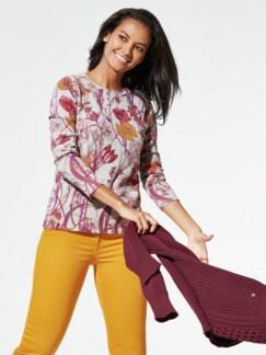 Cashmere Leicht-Pullover Blumen Multicolor Detail 1