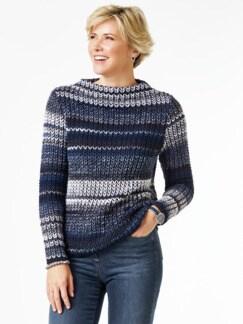 Grobstrick-Pullover Farbverlauf Jeansblau Detail 1