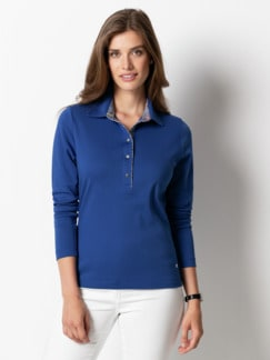 SUPIMA-Polo Royalblau Detail 1