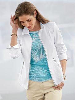 Pique Jacke Comfort Weiß Detail 1